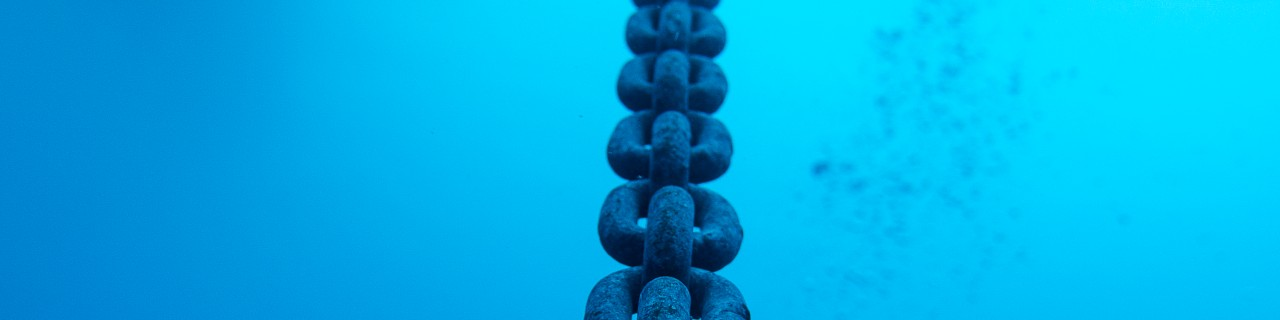 chain in blue water