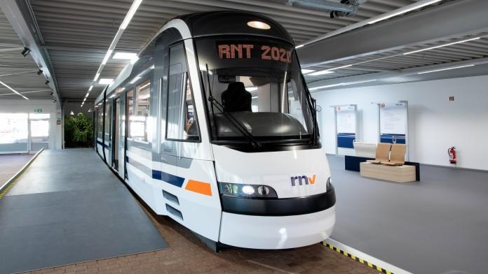 modern white tram