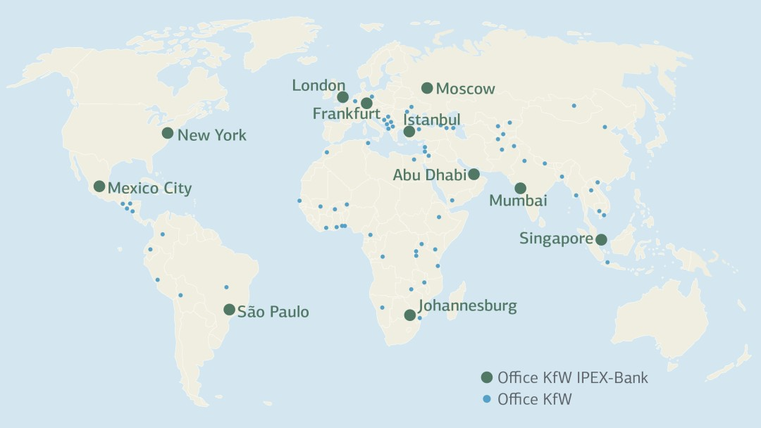 map of offices worldwide of KfW IPEX-Bank and KfW