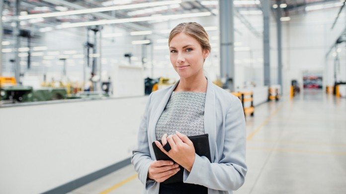 Woman at production site