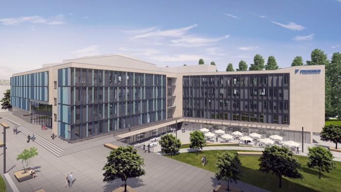 Skizze eines modernen Bürogebäudes