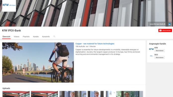 Screenshot YouTube-Kanal der KfW IPEX-Bank