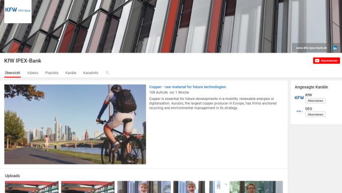 Screenshot YouTube-Kanal der KfW IPEX-Bank