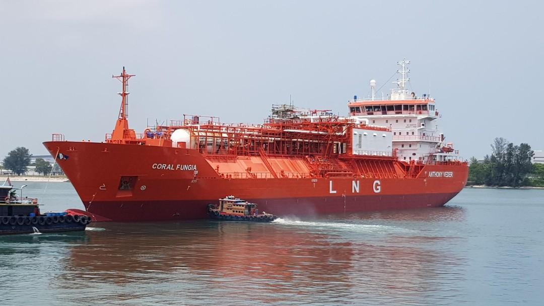 großes rotes Tankschiff auf dem Wasser