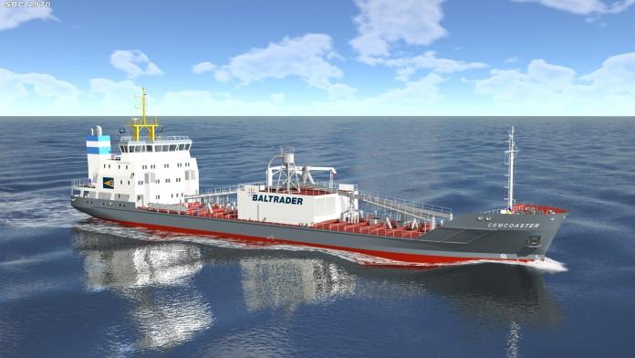 Skizze eines Zement-Transportschiffes