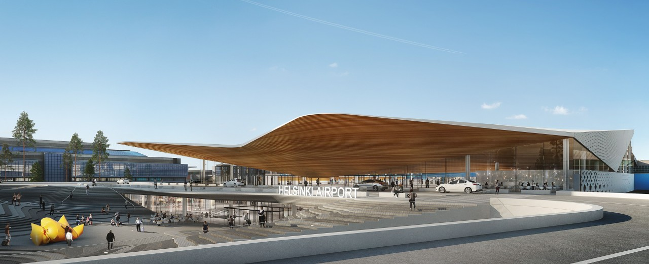 illustration of the new terminal 2 of the airport in Helsinki