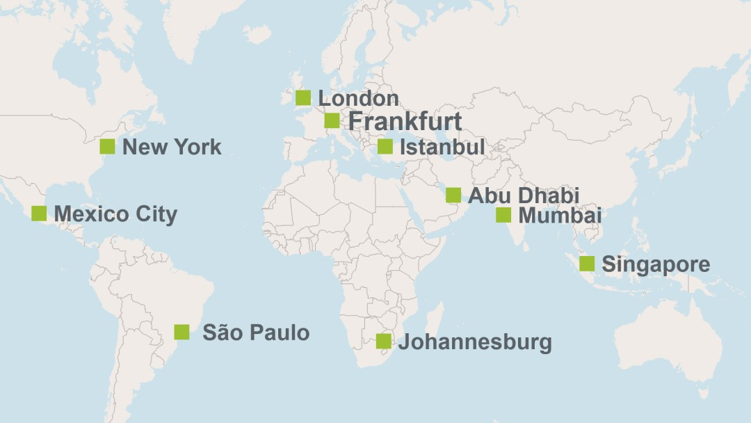 map of worldwide locations of fW IPEX-Bank